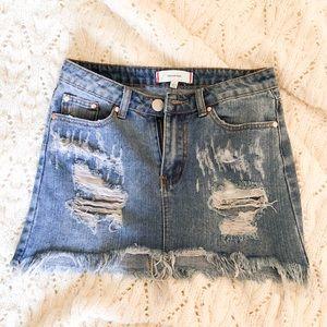 Ripped Jean Skirt